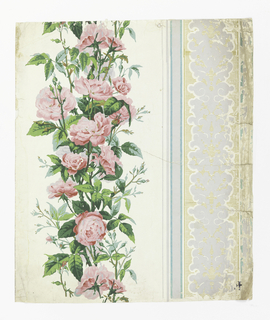 On glossy white ground, vertical band of red roses, buds, leaves. To right: band of gray and turquoise blue, bandings of gray leafy-scroll work on ground of horizontal gold stripes.