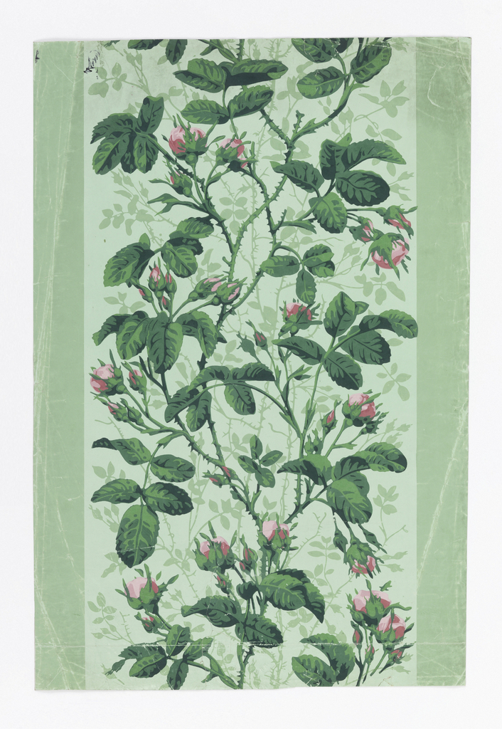 Light green ground with darker green vertical stripes at edges, tangle of naturalistic bright pink rose buds and leaves.