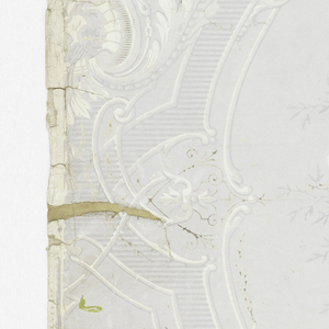 On gray ground, symmetrical grisaille scrollwork with horizontally-striped bandings enframing clusters of flowers.