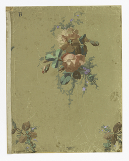 On khaki ground, isolated sprigs of peach-colored roses.