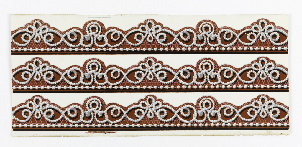 Narrow border, with very ornate strung bead and honeycomb lace design. Printed in grisaille and red flock on white ground. Passementerie or fancy gimp, printed three across.  H#43