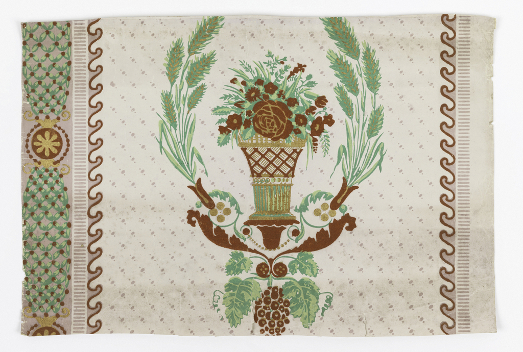 a) Vase of floral bouquet centered within a wreath of wheat. Grapes, acanthus scrolls, and beads below. Vertical lattice stripe and wave molding on sides.  Gold, red, brown and shades of green on white; b/d) Bottom border, central medallion containing putti pulling chariot with butterfly, above foliate band across bottom pilaster bases alternate with wave design at top edge.   H# 816 ?