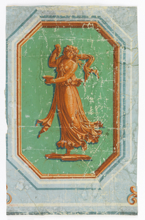 Bacchus's female companion, Thyiades, dances and wears a long flowing robe while holding grapes and a cup. Figure is centered in an octagon-shaped frame.  Shades of brown and blue, green.