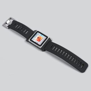Wristwatch form composed of simple square aluminum frame that spits in half to receive a 6th generation Apple iPod for use as a watch face; simple black silicone rubber strap with metal buckle.