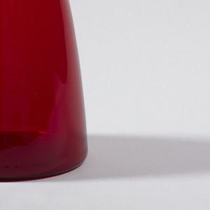 Ruby glass teardrop decanter, with teardrop stopper.