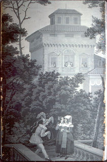An Italianate building, center background, with ladies and gentlemen at the windows. Foreground, at the top of a garden starcase, stands a man dressed as a clown gesturing to two women dressed as peasants. Printed in grisaille.