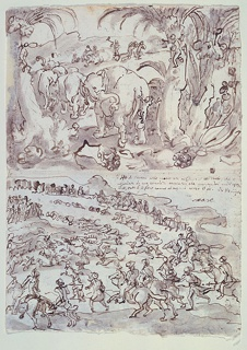 Drawing, Recto, above: Elephants Hunted by Troglodytes [Cavemen], from Pliny's Natural History, Book 8, ch. 8; below: The King of Persia hunting on an Island. Verso: Fight between Elephants and Snakes, from Pliny's Natural HIstory, Book 8, ch. 11-12
