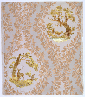 Framework of leafy branches enclosing vignettes in gold and green foil of trees and deer. The two vignettes are different and in diagonal relationship to one another. Printed on taupe ground. Stamped gold and green foil.