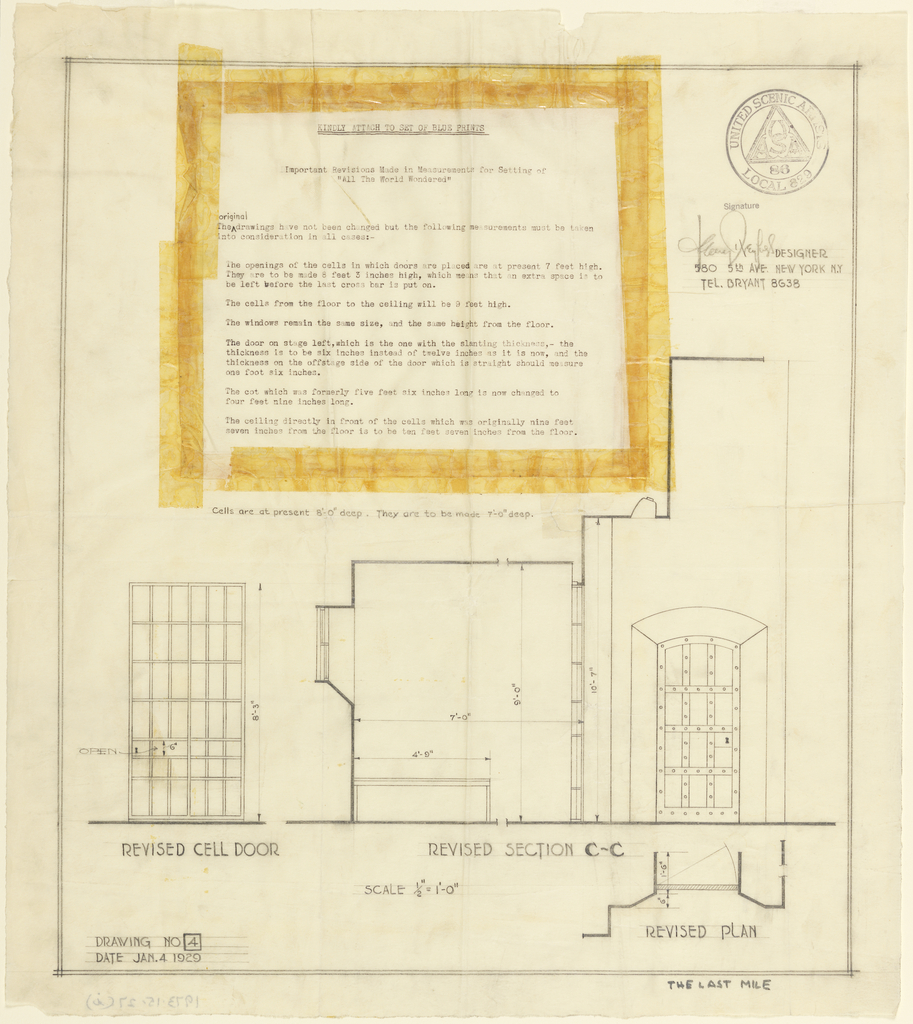 Page with plan and taped on is a typed sheet of text explaining the plan.