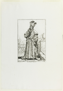 Bearded man in Turkish costume stands on porch with railing and landscape beyond, facing slightly left. His right hand rests at hip; in his left, he holds staff, with crescent moon on top. Crescent moon and feathers decorate his high stiff hat, and loops of pearl, his belt.