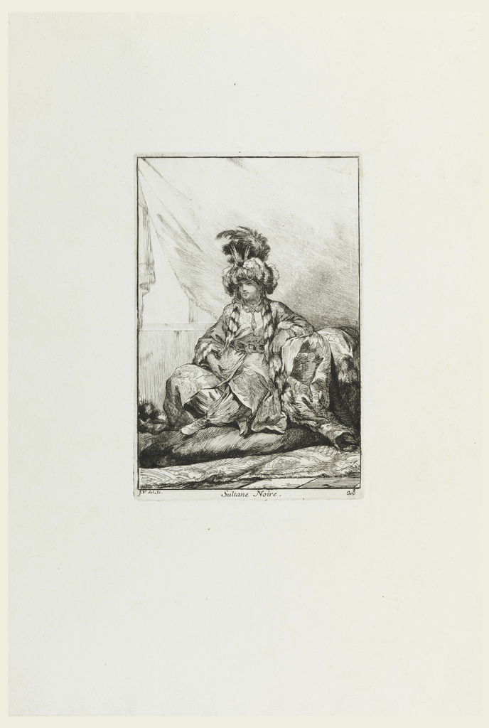 Dark-skinned youth dressed as Turkish Sultana sits cross-legged on mound of rugs and cushions. His cloak edged in fur and wears elaborate turban of feathers and jewels, with more jewels at neck and waist.