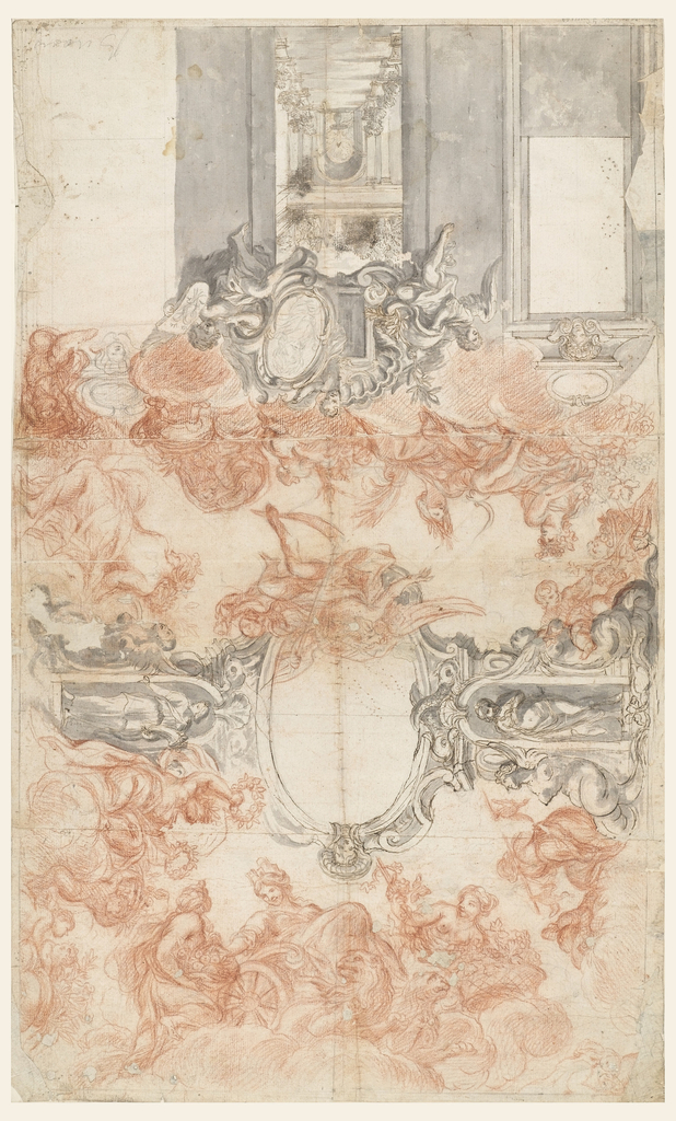 "Partial view of wall decoration.  In the middle is intended a painted view in a garden atrium.  The opening is bordered above by an overdoor with two alternative suggestions united to one whole.  At left: an escutcheon, with a rectangular frame for a picture, is carried by putti; at right: a scrollwork frame with a portrait of a victorious general is carried by a putto holding in his outside arm a shield with a crowned double-headed eagle.  Above, in the center, is a part of a putto leaning his hand upon a frame, which is intended to have a counterpart ""Autumn,"" ""Summer,"" ""Winter,"" sit upon clouds above the wall decoration.  ""Saturnus"" flies toward ""Summer"" from the ovoidal scrollwork frame in the middle of the ceiling.  A child with a basket kneels in the corner at right.  At center, the ovoidal frame is supported laterally by pilasters of a kind, showing in the middle niches with female statues. Winged armless mermaids are shown laterally.  Beside the pilaster at right sit women with wreathes and more children with vessels filled with flowers.  The short wall opposite the shown one is faced by Cybele in her chariot drawn by lions and receiving fruits offered by a girl.  A woman with a vine is at her other side.  A woman carrying birds on a stick is beside the pilaster on the other long side.  At right of it a child extending his arm toward a fruit basket carried by another child, sits upon the mermaid."
