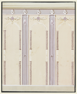Three panels which show stilted arches formed by boughs and ornametal motifs on top are separated by two pilaster strips, which, standing upon a dado, support the frieze of the entablature. Staffs frame the strips which contain three vertical lines topped with a palmette. Larger palmettes, standing upon calyxes, also decorate the frieze.