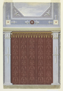 A short wall and part of the ceiling of an oblong room. The wall shows an imaginary damask cover flanked by pillars above a dado. The ceiling shows a framed view of the sky.
