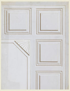 A quarter of the design is shown. Bands separate the central oblong from rows of coffers. A shell is placed in the corner of the central panel, the field of which shows an octagonal molding. Molding and a stripe frame the decoration.