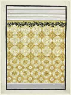 Design for a wall covering with rows of great petals alternating with staggered petal rosettes. A colorful green and purple garland trims the top. At the bottom, a gray strip indicates a dado while across the top alternating gray and white stripes indicate an entablature. The color way is ochre and white, with the pattern rendered in reverse at the bottom of the design. The entire design is bordered by a thick black line.