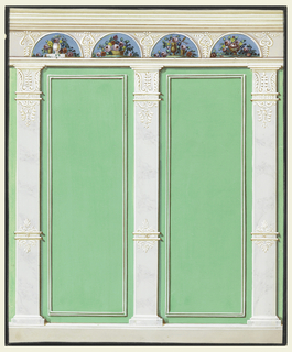 Three pilasters, standing upon a dado, support an entablature, the frieze of which shows four semicircular representations of flowes in various receptacles and ornament motifs in the wedges. Bands and palmettes decorate the lower parts of the pilasters. The wall panels are green, with a molded oblong frame. Black framing stripe.