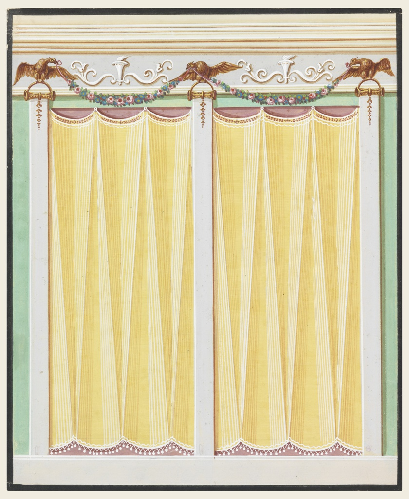 Three pilaster strips, standing upon a dado, support the entablature. They have volutes as capitals, above which arches rise, and eagles are perched. They carry flower festoons. Yellow curtains hang in the two panels between the pilasters.