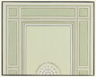 One half of the design is shown. A rosette in a laurel wreath decorates the central oblong panel. Squares are shown in the corners and in the centers of the sides; they are connected by oblongs.