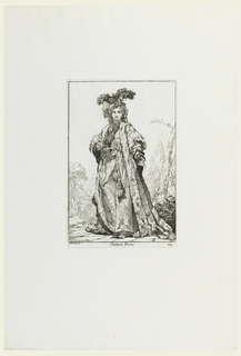 Youth in costume of highest ranking and most richly dressed woman in Turkish court. He wears ermine-trimmed robes, high jeweled and feathered turban, necklace and jeweled tasseled belt. Shown facing frontally, landscape beyond.