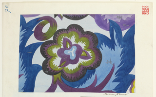 Floral design in violet, brown and green, surrounded by large feathery blue leaves