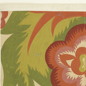 Floral design in rose, mauve, rust red, and green, surrounded by large feathery green leaves.