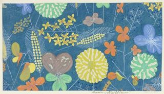 Pattern of wild flowers in mauve, orange, yellow, teal, and blue on steel blue ground.