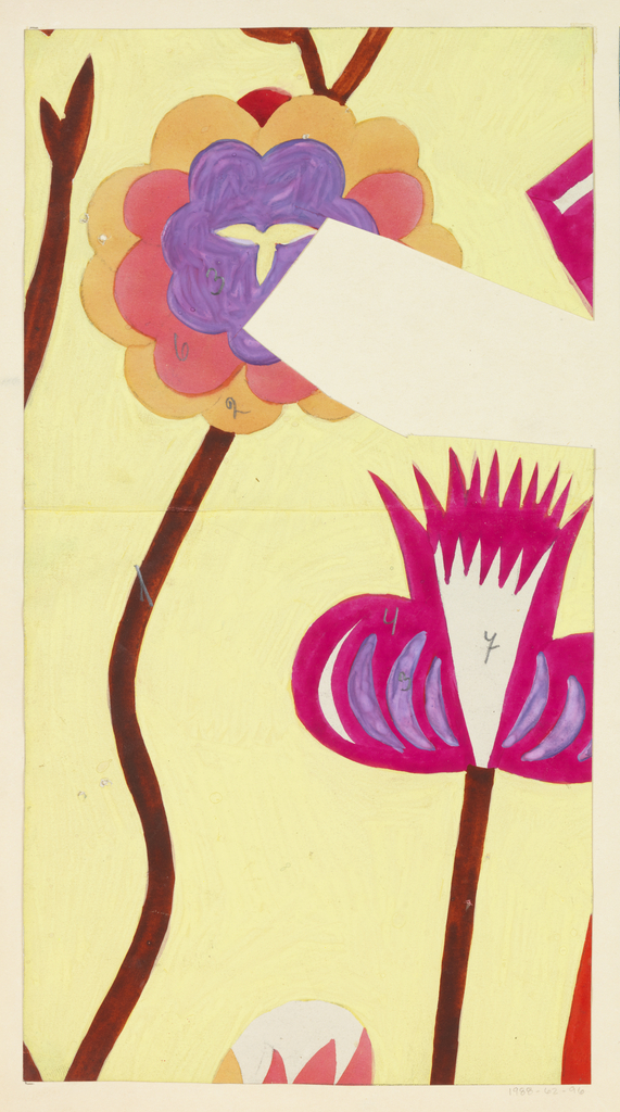 Two long-stemmed abstract flowers; one with scalloped petals in purple, magenta and yellow; the other with spiky petals in magenta and violet on a cream ground.