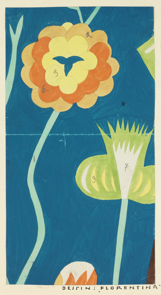Two long-stemmed abstract flowers; one with scalloped petals in yellow, orange and peach; the other with spiky petals in lime and yellow, on a teal ground.