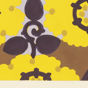 Pattern of arabesque-petalled blossoms in yellow and light lavender with mustard yellow dots and dark purple circles, with leaves and stems in dark purple in the interstices on a brown background.