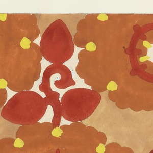Pattern of arabesque-petalled blossoms in orange and white with yellow dots and red circles, with leaves and stems in red in the interstices on a light orange background.