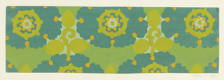 Pattern of arabesque-petalled blossoms in greenish-gray and light bluish-white with mustard yellow dots and chartreuse circles, with leaves and stems in chartreuse in the interstices on a green background.