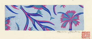 Pattern of floral motifs in cobalt and pink on light blue ground.