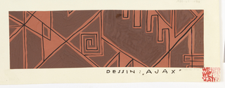 Abstract crisscrossing line design in black, outlined in terra cotta on brown ground.
