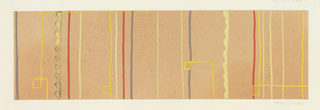 On brown-apricot ground, gray, red, and light yellow lines going vertically; bright yellow lines going vertically and horizontally intertwined with vertical lines.