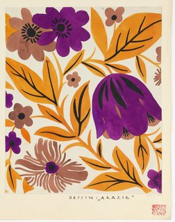Drawing, Textile Design: Akazie