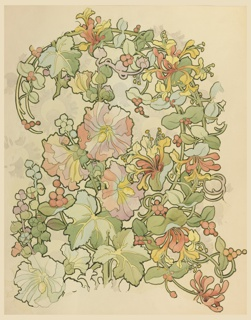 Drawing, Textile Design: Honeysuckle and Hollyhocks