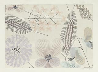 Pattern of wild flowers in grays on white ground.
