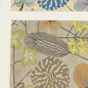 Pattern of wild flowers in yellow, blue, salmon and gray on light beige ground.