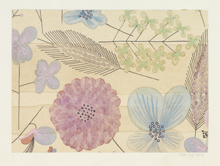 Pattern of wild flowers in light green, mauves, light blue on light beige ground.