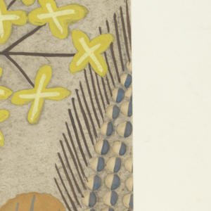 Pattern of wild flowers in yellow, slate, lime and gray on gray ground.