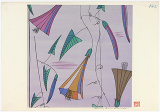 Trumpet-shaped blossoms in pink, lavender, orange and brown; arrowhead leaves in green and blue on lavender ground.