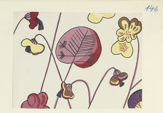 Drawing, Textile Design: Alpenveilchen (Cyclamen)