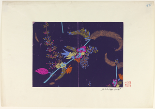 Large floral branch motif in bright blue, orange, yellow and pink on dark purple ground.