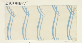 Pattern of double thin vertical brushed lines in aqua on white ground.