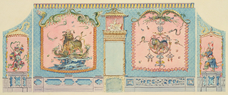 Elevation of the west wall with two large wall-paintings flanking the fireplace. The panel to the left has as its central subject a lion trampling two dragon-serpents, while the frame above is composed of two coiled serpents. The panel to the right is made up of ornamental motifs with a lion at center. Within narrow painted panels to the far left and far right are figures of  devil-dancers.  Original album associated with this collection still exists.  See 1948-40-1 accessory