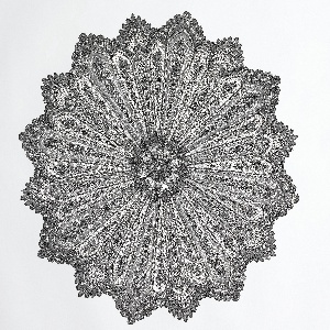 Black Chantilly lace parasol cover with a radiating floral design and deeply scalloped edge.