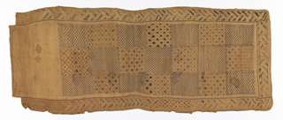 Center field of large squares of diamonds and trellis patterns in dark brown and natural pile embroidery. Wide border with interlacing pattern on three sides, edged with buttonhole embroidery in hemp cord.