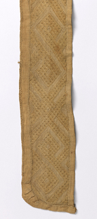 Long narrow band made from two shorter pieces stitched together. All natural raffia color, in a creamy tone.  Three pattern areas of geometric interlacing of alternating bands of textured pile embroidery and stem-stitch embroidery. The areas are separated by solid bars of pile.  Long edges are hemmed, with decorative buttonhole stitch along one long edge.