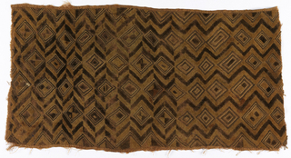 All-over pattern of diamonds and zig-zags in dark brown and natural raffia color pile embroidery, with bands of striped dark and light stem or wrapping stitch.